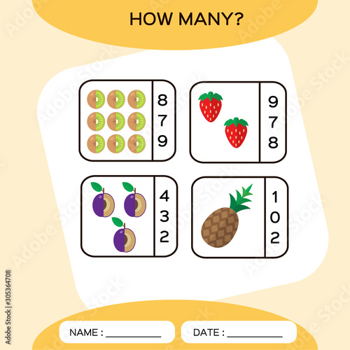 Fototapety, obrazy: How Many. Count game. Education Counting Game for Preschool Children. Worksheet activity. Fruits. Kiwi, Pineapple, Strawberry,Plum. Food