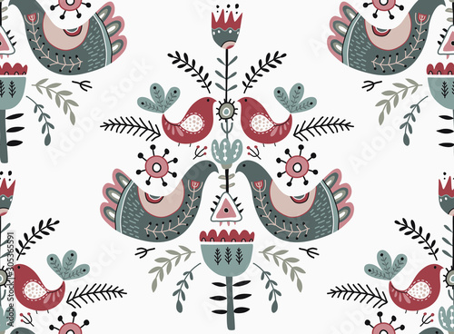 Photographie  Vector Christmas seamless pattern in scandinavian style.