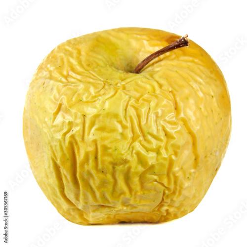 Valokuva yellow wrinkled apple isolated on white background, shrivelled apple closeup, ol