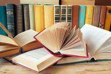 Book Shelf, Books Pile With Antique Books Closeup