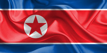 North Korea Flag. Waving Rippl...