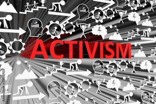 ACTIVISM concept blurred background 3d render illustration Canvas Print