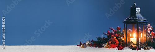 Fond de hotte en verre imprimé Nature Christmas composition on snow
