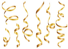 Gold Shiny Gradient Twisted Ribbons Set. Decoration For Carnival Party, Holiday Event, New Year, Christmas, Wedding Ceremony. Vector Illustration