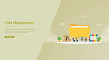 Files Management Efficiency Concept For Website Template Or Landing Homepage - Vector