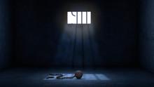 Ball And Chain For Prisoner In Jail With Broken Prison Bars, Prisoner Escape Concept Scene
