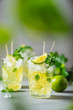 Cold tea with lime, mint and ice