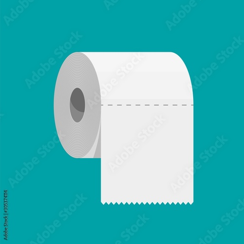 Photo White roll of toilet paper
