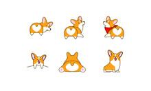 Set Of Cute Corgi Dog Logo Ico...
