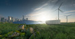 Leinwandbild Motiv Future renewable energy solution for sustainable cities. Modern black frameless solar panels, battery energy storage facility, wind turbines and big city with skycrapers in background. 3d rendering.