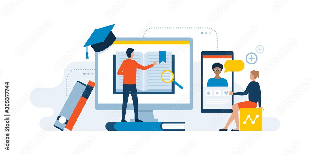 Fototapeta E-learning website and online courses