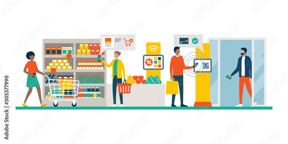 Fototapeta People doing grocery shopping using AR and mobile payments