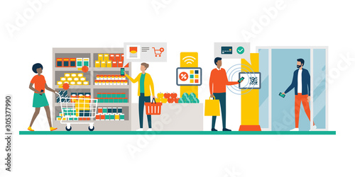 People doing grocery shopping using AR and mobile payments Canvas Print