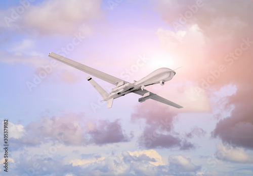 Photo  Spy unmanned aerial vehicle (UAV) flies over white clouds in blue sky natural ba