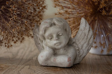 Old Stone Romantic Angel On Br...
