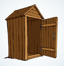 Old Wooden Toilet. Vector Draw...