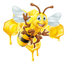 A Bumble Bee Cute Cartoon Character Mascot With His Or Her Honeycomb And Dripping Honey In The Background