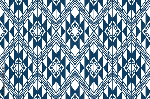 Fotomural thai fabric modern design pattern on blue background vector