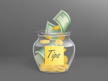 Transparent Money Box For Tips...