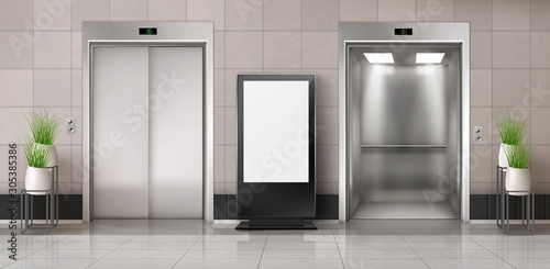 Office hallway with LCD screen floor stand, open and closed elevator doors Wallpaper Mural