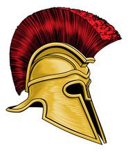 An Ancient Greek Spartan Warrior, Trojan Or Roman Gladiator Helmet