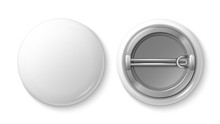 Button Pin Badge. White Blank ...