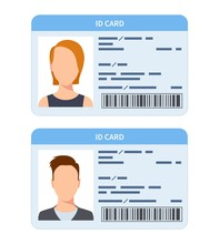 Id Card. Women And Men Plastic Identification Cards, Driver International License. Verify Corporate Document Flat Vector Template. Illustration Document Id Plastic, Official Identification