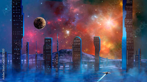 Spaceship flying over haze and smoke from abstract modern sci-fi city with colorful fractal nebula and planet Wallpaper Mural