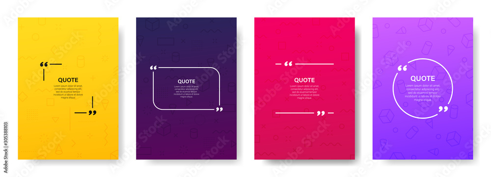Fototapety, obrazy: Quote box frame, big set. Quote box icon. Texting quote boxes. Blank template quote text info design boxes quotation bubble blog quotes symbols. Creative vector banner illustration.
