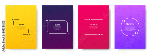 Obraz Quote box frame, big set. Quote box icon. Texting quote boxes. Blank template quote text info design boxes quotation bubble blog quotes symbols. Creative vector banner illustration. - fototapety do salonu
