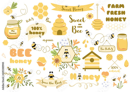 Fotografie, Tablou Bees set honey clipart Hand drawn bee honey elements Hive honeycomb pot beekeepi
