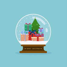 Merry Christmas Glass Ball Wit...