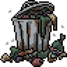 Vector Pixel Art Garbage Can