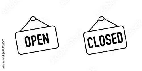 Open and Closed sign boards with a rope Fototapet