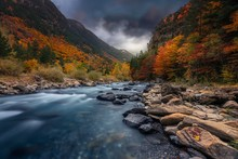 Breathtaking Shot Of A River In The Forest With Colorful Trees Under The Cloudy Sky In Autumn