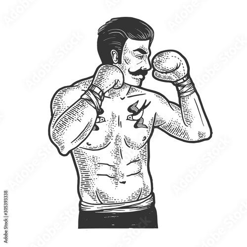 Fotografía Vintage boxer fighter with mustache sketch engraving vector illustration