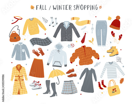 Fotografía  Clothes and outerwear collection, winter and fall fashion, shopping concept illustration