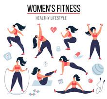 Female Fitness. Woman Doing Fi...