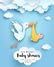 Baby Shower Card With Cute Sto...