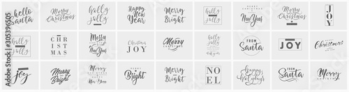 Merry Christmas and happy New Year set with lettering typographic compositions for the poster and greeting card. Calligraphy for winter holiday. Vector