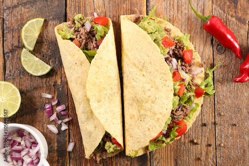 Fotomural tacos with beef, avocado and tomato- tortilla bread
