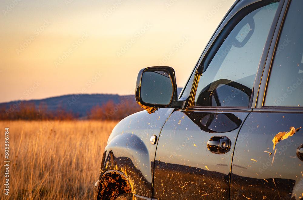 Fototapeta SUV travels in the Carpathians