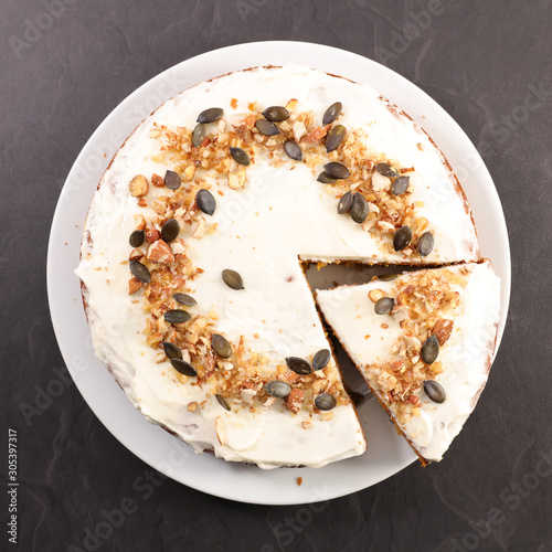 Fototapety, obrazy: carrot cake with cream and nuts, slice