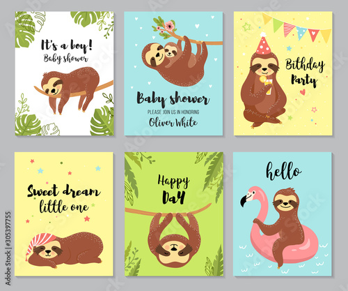 Sloth cards Wallpaper Mural