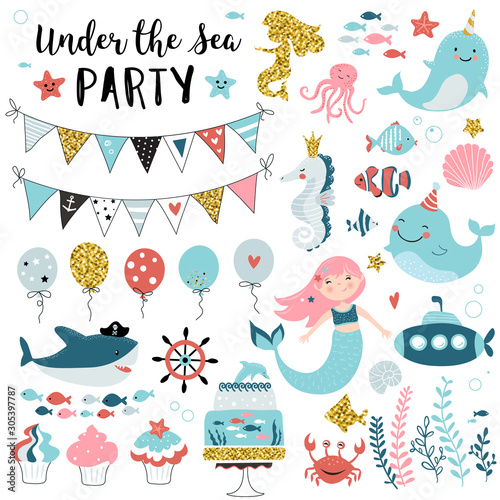 Fotografia Under the sea party elements for greeting, birthday, invitation, baby shower card