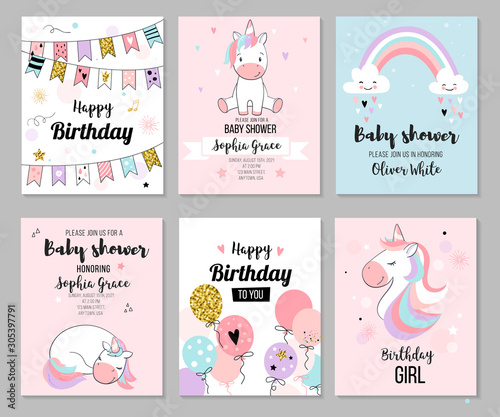 Baby shower invitation and happy birthday greeting card set with cute unicorns. Vector illustration, hand drawn style.
