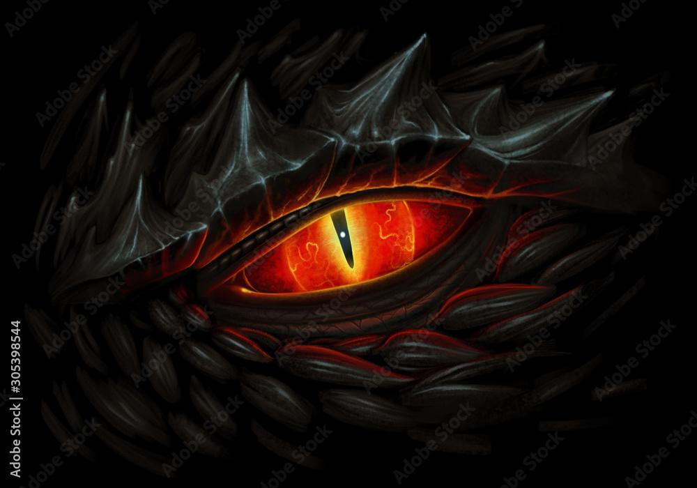 Fototapeta Black dragon fire eye