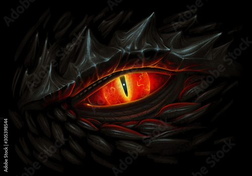 Fototapeta Black dragon fire eye