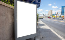 Billboard Blank White Mockup For Advertisement At Roadside, Spring Sunny Day, Copy Space