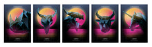 80s Retro Sci-Fi Backgrounds With Polygonal Models. Vector Futuristic Synth Retro Wave Illustration In 1980s Posters Style. Ultra Violet. Creative Template With Low Poly Elements.